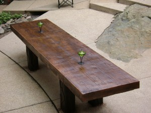 Concrete Picnic Table With Wood Plank Pattern